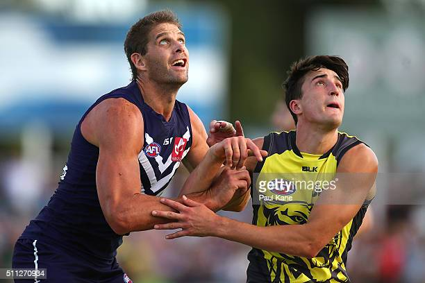 Aaron Sandilands of the Dockers and Ivan Soldo of the Tigers contest the ruck during the 2016 AFL NAB Challenge match between the Fremantle Dockers...