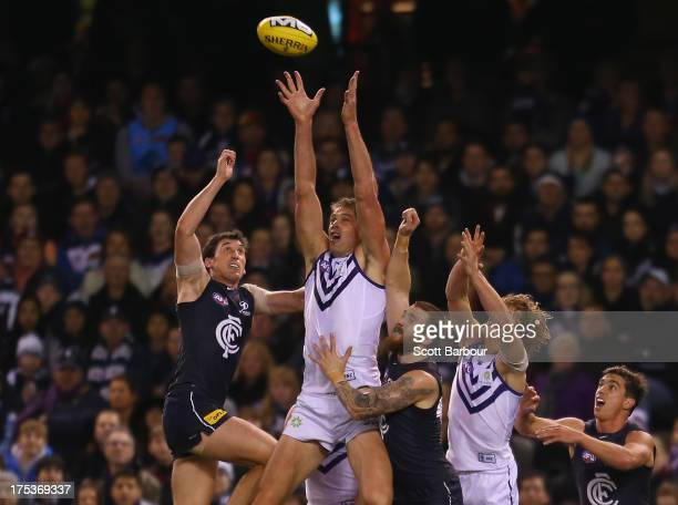 Aaron Sandilands of the Dockers competes for the ball during the round 19 AFL match between the Carlton Blues and the Fremantle Dockers at Etihad...