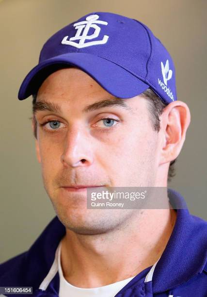 Aaron Sandilands of the Dockers speaks to the media during a Fremantle Dockers press conference at Park View Hotel on September 9 2012 in Melbourne...