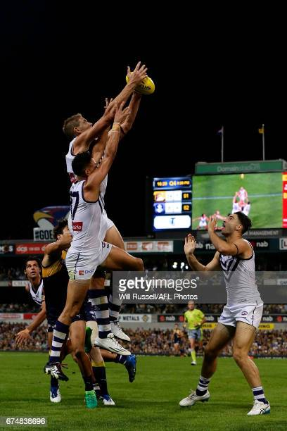 Aaron Sandilands of the Dockers takes a pack mark during the round six AFL match between the West Coast Eagles and the Fremantle Dockers at Domain...