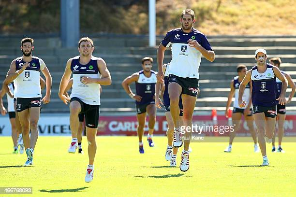 Aaron Sandilands warms up during a Fremantle Dockers AFL preseason training session at Fremantle Oval on February 4 2014 in Fremantle Australia