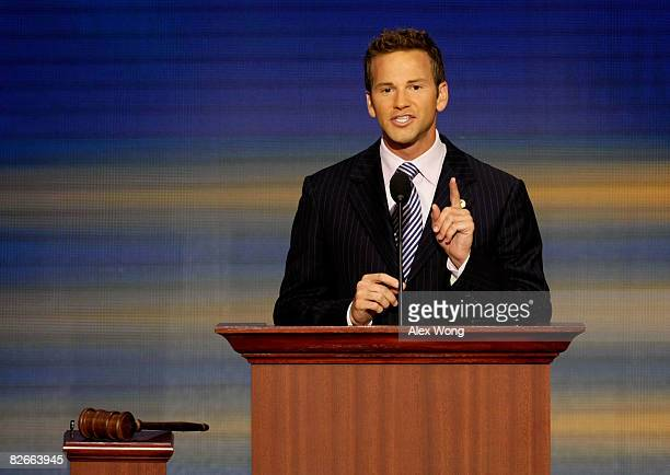 Aaron Schock speaks on day four of the Republican National Convention at the Xcel Energy Center on September 4 2008 in St Paul Minnesota US Sen John...