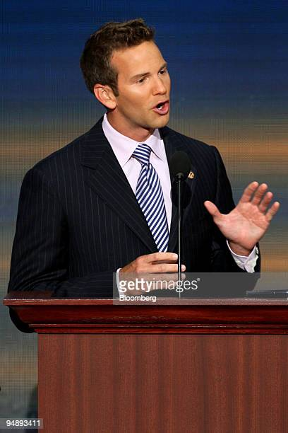 Aaron Schock who is running as a Republican representative in Illinois speaks on day four of the Republican National Convention at the Xcel Energy...
