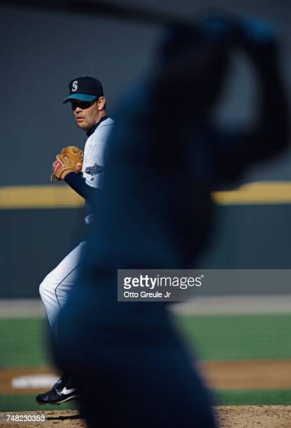 Aaron Sele and pitcher for the Seattle Mariners winds up to throw a pitch during the Major League Baseball National League Central game against the...