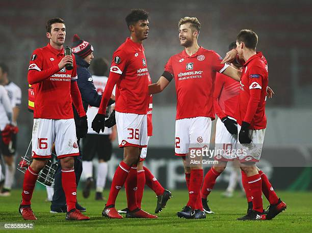Aaron Seydel and Alexander Hack of Mainz celebrate their team's win at the end of the UEFA Europa League match between 1 FSV Mainz 05 and Qabala FK...