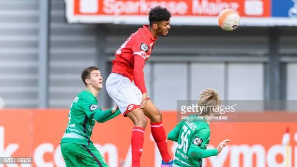 Aaron Seydel of Mainz in action against Thore Jacobsen of Bremen during the Third League match between Mainz 05 II and SV Werder Bremen II at...