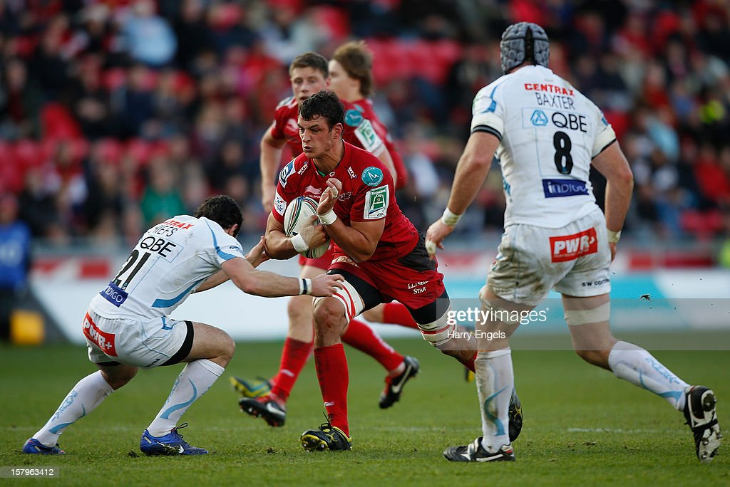 Aaron Shingler of Scarlets runs at the Exeter defence during the Heineken Cup match between Scarlets and Exeter Chiefs at Parc y Scarlets on December 8, 2012 in Llanelli, Wales.