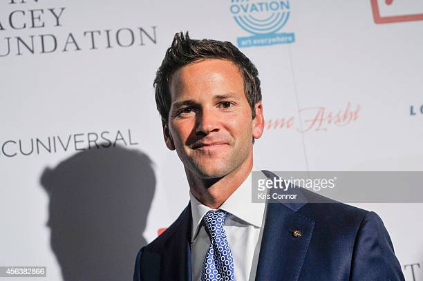 Aaron Shock attends an after party at Poste at the Hotel Monaco after the Kevin Spacey Foundation Benefit Concert at Sidney Harmon Hall on September...