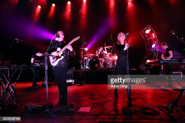 Aaron Short Thom Powers Jesse Wood Alisa Xayalith and David Beadle of The Naked and Famous perform on stage at Shepherds Bush Empire on December 1...