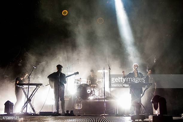 Aaron Short Thom Powers Jesse Wood Alisa Xayalith and David Beadle of The Naked and Famous perfoms at The Frank Erwin Center on February 20 2014 in...
