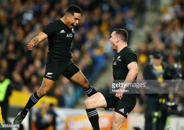 Aaron Smith and Ryan Crotty of the All Blacks celebrate a try by Crotty during The Rugby Championship Bledisloe Cup match between the Australian...