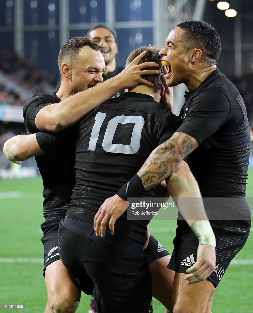Aaron Smith celebrates the try of Beauden Barrett of New Zealand during the International Test match between the New Zealand All Blacks and Wales at...