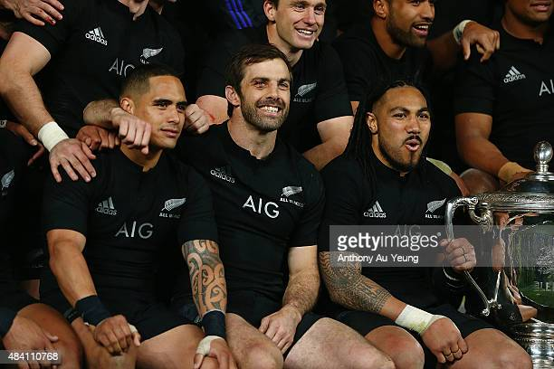 Aaron Smith Conrad Smith and Ma'a Nonu of New Zealand celebrate after winning The Rugby Championship Bledisloe Cup match between the New Zealand All...