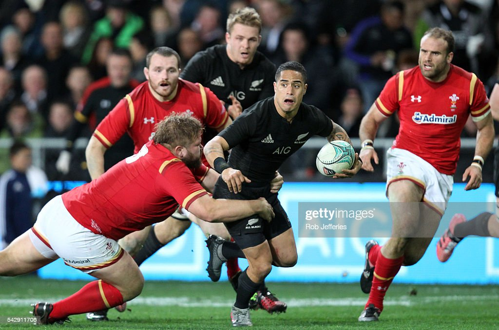 Aaron Smith of New Zealand on the attack during the International Test match between the New Zealand All Blacks and Wales at Forsyth Barr Stadium on June 25, 2016 in Dunedin, New Zealand.
