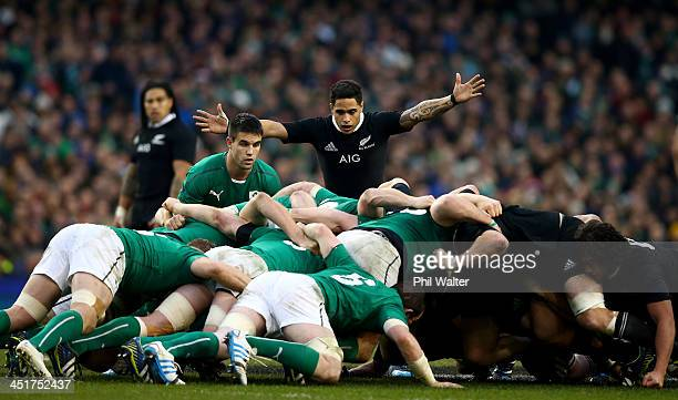 Aaron Smith of the All Black reacts as the scrum packs down during the International match between Ireland and the New Zealand All Blacks at Aviva...
