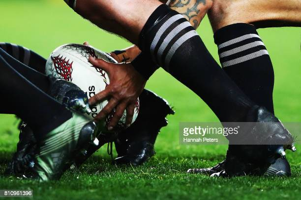 Aaron Smith of the All Blacks clears the ball from the scrum during the Test match between the New Zealand All Blacks and the British Irish Lions at...