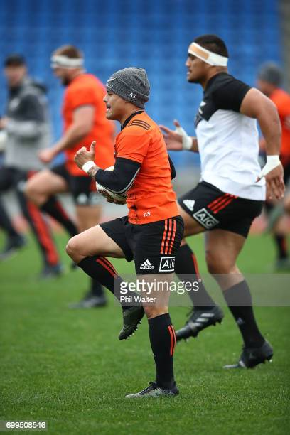 Aaron Smith of the All Blacks during a New Zealand All Blacks training session at Trusts Stadium on June 22 2017 in Auckland New Zealand