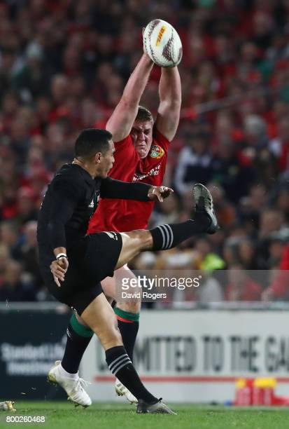 Aaron Smith of the All Blacks has his kick charged down by Tadhg Furlong of the Lions during the first test match between the New Zealand All Blacks...