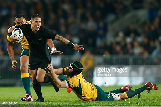 Aaron Smith of the All Blacks is tackled during The Rugby Championship Bledisloe Cup match between the New Zealand All Blacks and the Australian...
