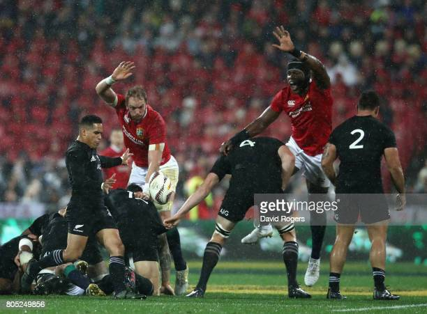 Aaron Smith of the All Blacks kicks the ball upfield during the match between the New Zealand All Blacks and the British Irish Lions at Westpac...