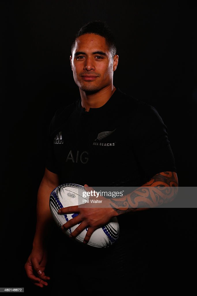 Aaron Smith of the All Blacks poses for a portrait during a New Zealand All Blacks portrait session at the George Hotel on July 10 2015 in...
