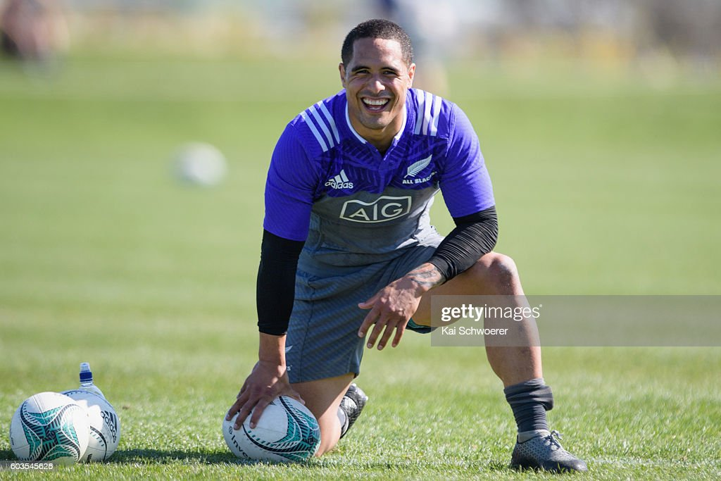 Aaron Smith of the All Blacks reacting during a New Zealand All Blacks training session on September 13, 2016 in Christchurch, New Zealand.