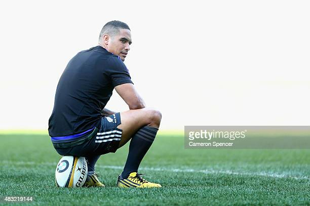 Aaron Smith of the All Blacks relaxes during the All Blacks captain's run at ANZ Stadium on August 7 2015 in Sydney Australia