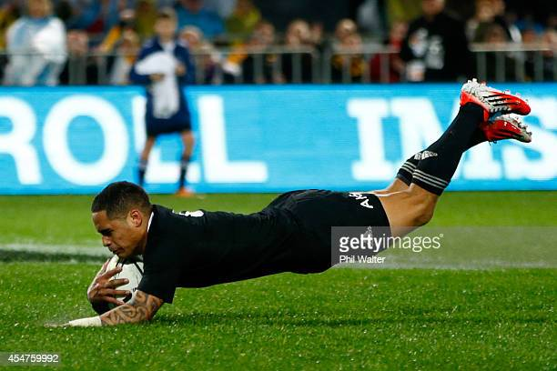 Aaron Smith of the All Blacks scores a try during The Rugby Championship match between the New Zealand All Blacks and Argentina at McLean Park on...