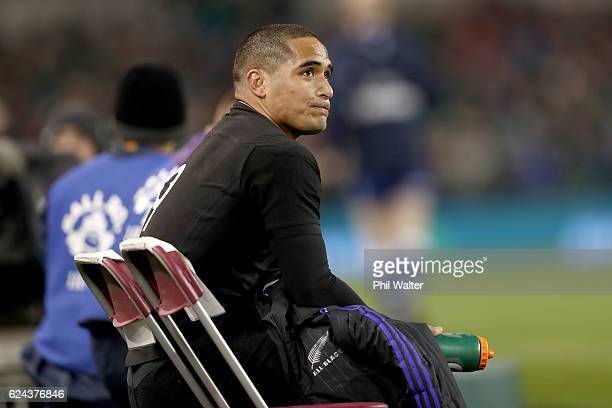 Aaron Smith of the All Blacks sits in the sinbin during the international rugby match between Ireland and the New Zealand All Blacks at Aviva Stadium...