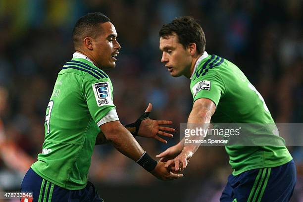 Aaron Smith of the Highlanders celebrates a try during the Super Rugby Semi Final match between the Waratahs and the Highlanders at Allianz Stadium...