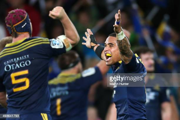 Aaron Smith of the Highlanders celebrates after the round 15 Super Rugby match between the Highlanders and the Crusaders at Forsyth Barr Stadium on...