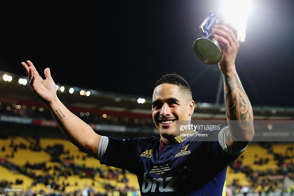 Aaron Smith of the Highlanders celebrates after winning the Super Rugby Final match between the Hurricanes and the Highlanders at Westpac Stadium on July 4, 2015 in Wellington, New Zealand.