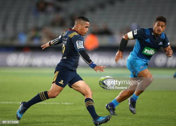 Aaron Smith of the Highlanders during the round three Super Rugby match between the Blues and the Highlanders at Eden Park on March 11 2017 in...