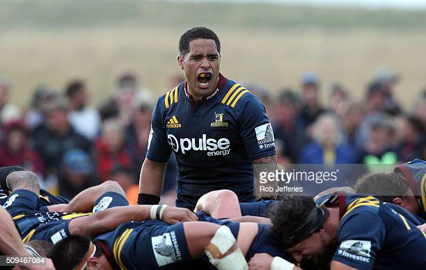 Aaron Smith of the Highlanders yells at his teammates during the Super Rugby trial match between the Highlanders and the Crusaders at Fred Booth Park...