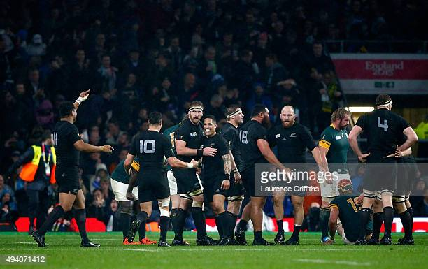 Aaron Smith of the New Zealand All Blacks and Kieran Read of the New Zealand All Blacks andThe New Zealand team celebrates victory at the end of the...