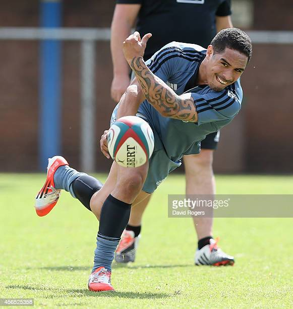 Aaron Smith passes the ball during the All Blacks training session held at Wits University on October 2 2014 in Johannesburg South Africa