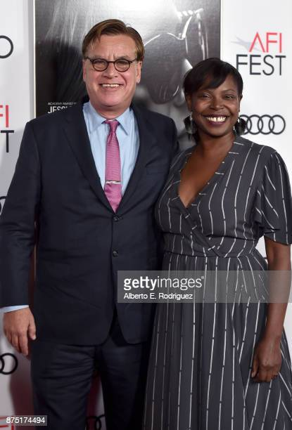Aaron Sorkin and Festival Director for AFI FEST Jacqueline Lyanga attend the screening of 'Molly's Game' at the Closing Night Gala at AFI FEST 2017...