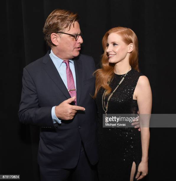 Aaron Sorkin and Jessica Chastain attend the screening of 'Molly's Game' at the Closing Night Gala at AFI FEST 2017 Presented By Audi at TCL Chinese...