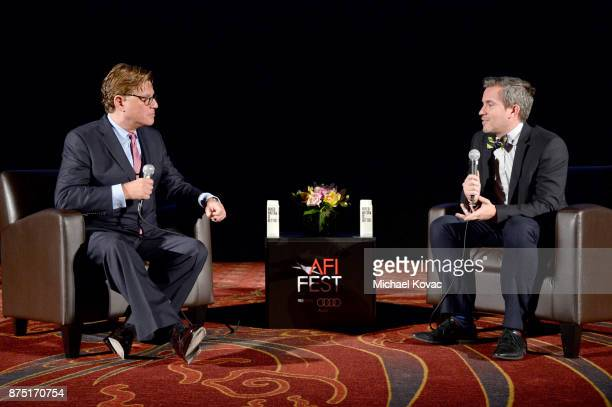 Aaron Sorkin and Variety's Peter Debruge speak onstage at the screening of 'Molly's Game' at the Closing Night Gala at AFI FEST 2017 Presented By...