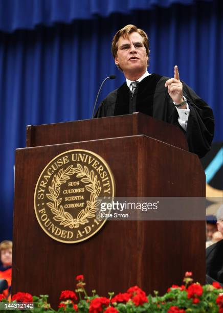 Aaron Sorkin screenwriter producer and playwright points during his address at the 2012 Syracuse University Commencement at Syracuse University on...