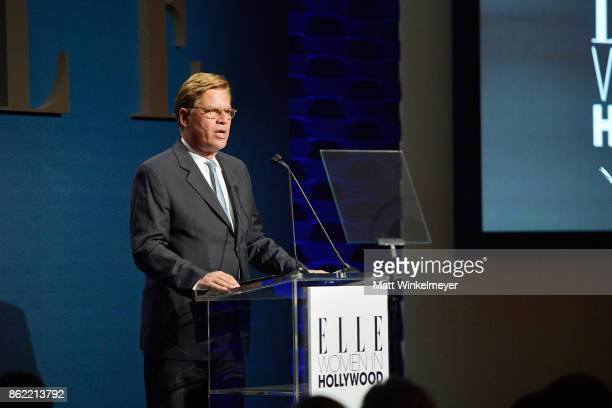 Aaron Sorkin speaks onstage at ELLE's 24th Annual Women in Hollywood Celebration presented by L'Oreal Paris Real Is Rare Real Is A Diamond and CALVIN...