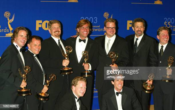 Aaron Sorkin with producers writers of 'The West Wing' winners for Outstanding Drama Series