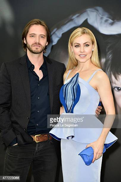Aaron Stanford and Amanda Schull attends a photocall for the '12 Monkeys' TV series on June 15 2015 in MonteCarlo Monaco