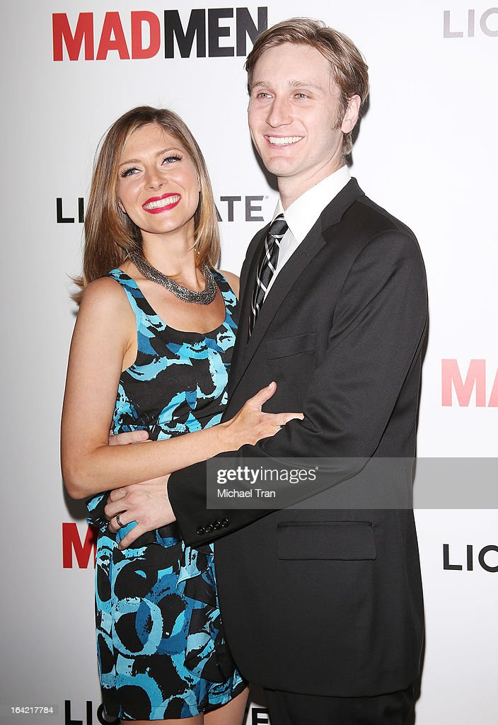 <a gi-track='captionPersonalityLinkClicked' href=/galleries/search?phrase=Aaron+Staton&family=editorial&specificpeople=4472110 ng-click='$event.stopPropagation()'>Aaron Staton</a> (R) and guest arrive at AMC's 'Mad Men' season 6 premiere held at DGA Theater on March 20, 2013 in Los Angeles, California.