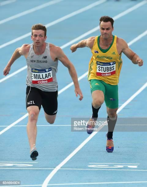 Aaron Stubbs of Australia competes in men 60 metre during the Melbourne Nitro Athletics Series at Lakeside Stadium on February 11 2017 in Melbourne...