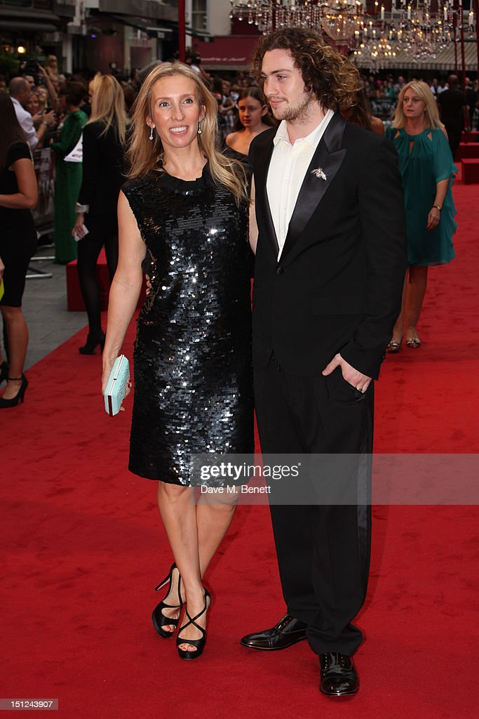 Aaron Taylor-Johnson and <a gi-track='captionPersonalityLinkClicked' href=/galleries/search?phrase=Sam+Taylor-Wood&family=editorial&specificpeople=206600 ng-click='$event.stopPropagation()'>Sam Taylor-Wood</a> arrives at the World premiere of 'Anna Karenina' at The Odeon Leicester Square in London, England.