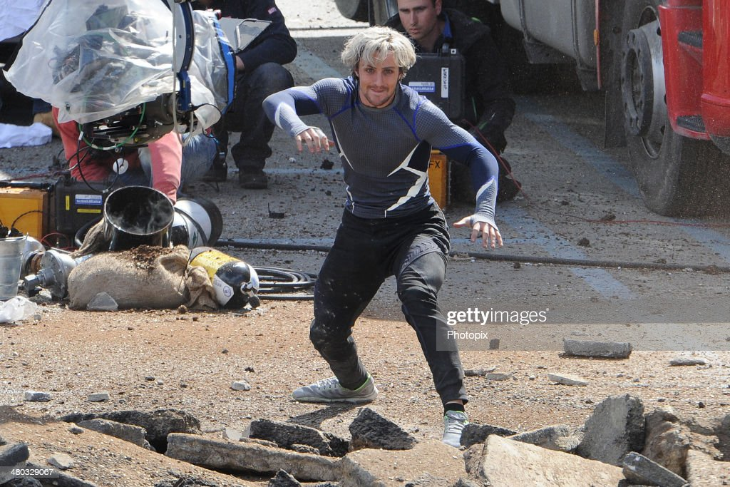 Aaron Taylor-Johnson is seen filming on location for 'Avengers: Age of Ultron' on March 24, 2014 in Aosta, Italy.