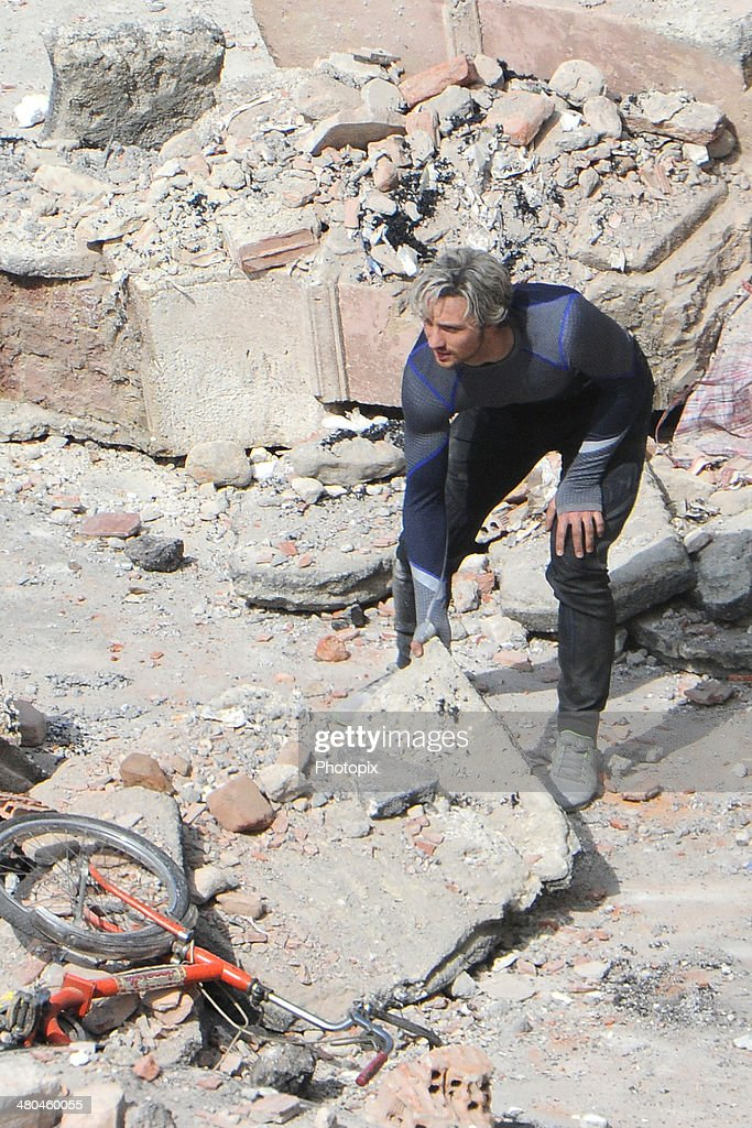 Aaron Taylor-Johnson is seen filming on location for 'Avengers: Age of Ultron' in Pont-Saint-Martin on March 24, 2014 in Aosta, Italy.