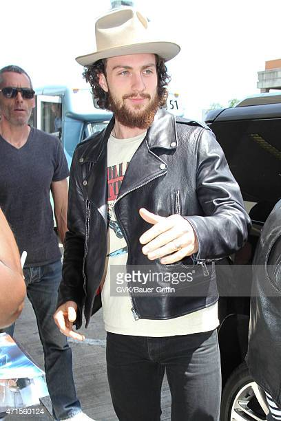 Aaron TaylorJohnson seen at LAX on April 29 2015 in Los Angeles California