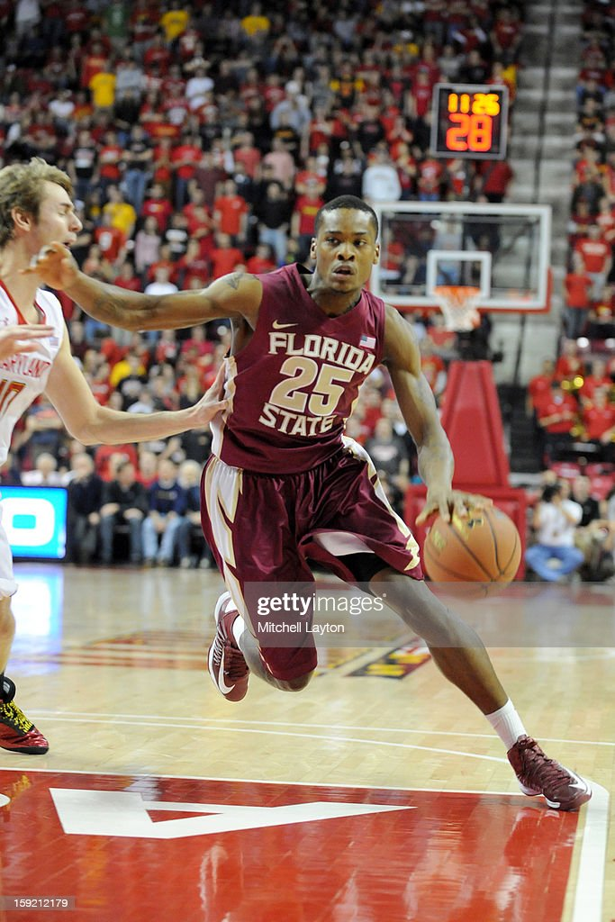 Aaron Thomas #25 of the Florida State Seminoles dribbles to the basket during a college basketball game against the Maryland Terrapins on January 9, 2013 at the Comcast Center in College Park, Maryland.
